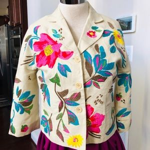 BEAUTIFUL QUIRKY EMBROIDERED FLORAL CROPPED JACKET